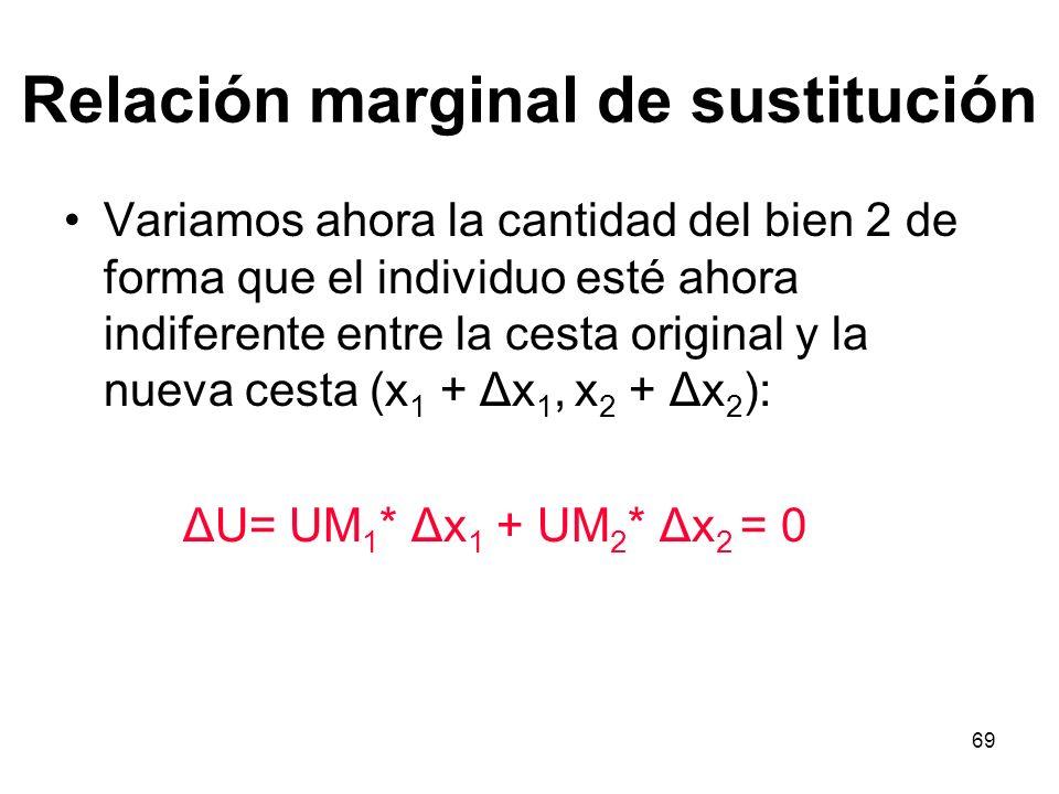 69 Relación marginal de sustitución Variamos ahora la cantidad del bien 2 de forma que el individuo esté ahora indiferente entre la cesta original y la nueva cesta (x 1 + Δx 1, x 2 + Δx 2 ): ΔU= UM 1 * Δx 1 + UM 2 * Δx 2 = 0