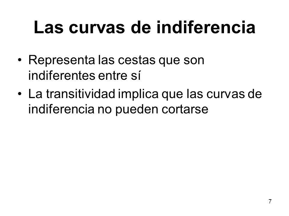7 Las curvas de indiferencia Representa las cestas que son indiferentes entre sí La transitividad implica que las curvas de indiferencia no pueden cortarse