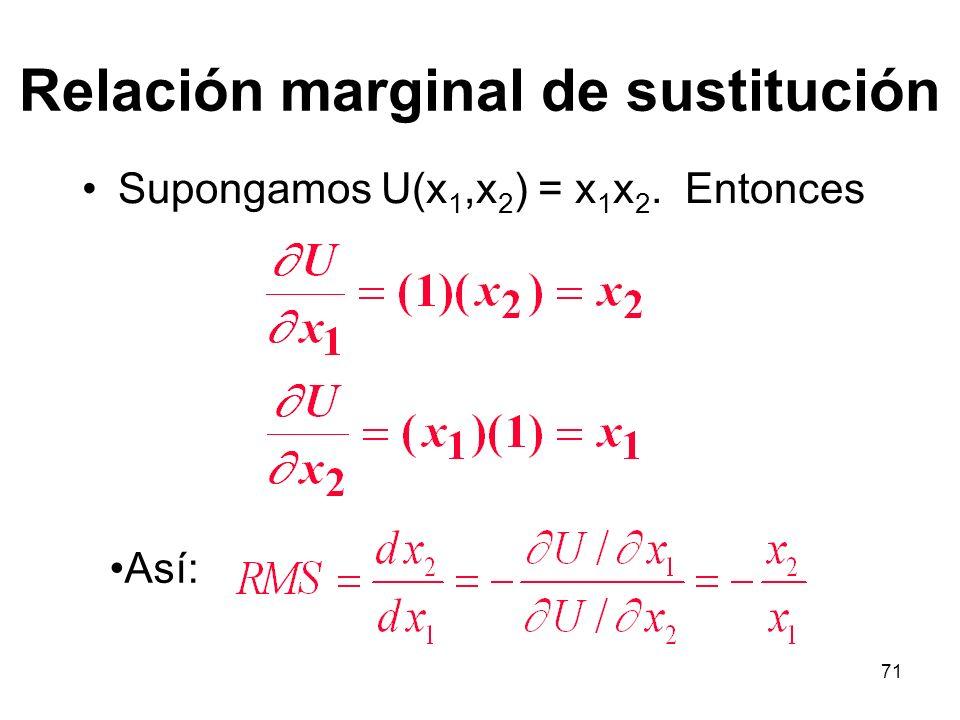 71 Relación marginal de sustitución Supongamos U(x 1,x 2 ) = x 1 x 2. Entonces Así: