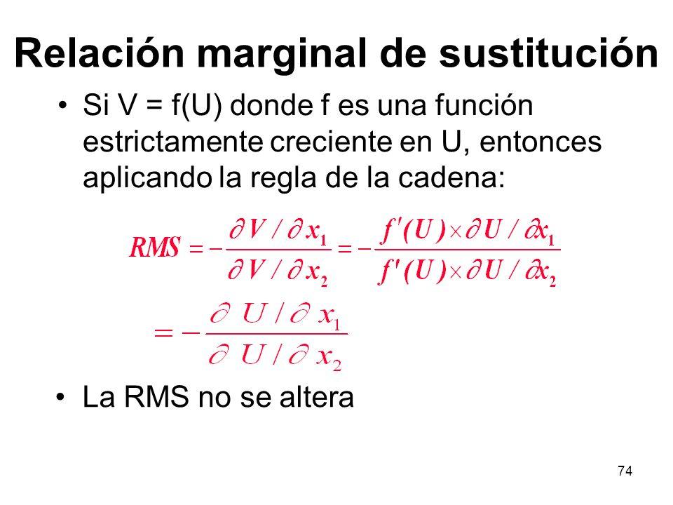 74 Relación marginal de sustitución Si V = f(U) donde f es una función estrictamente creciente en U, entonces aplicando la regla de la cadena: La RMS no se altera