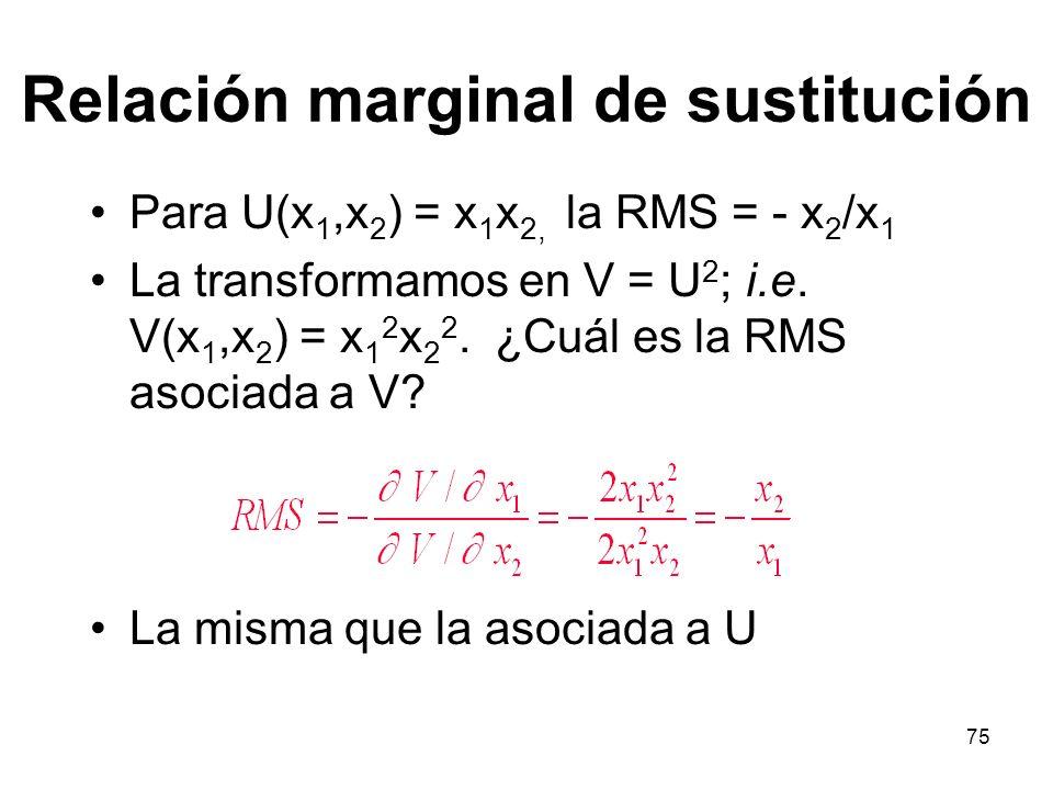 75 Relación marginal de sustitución Para U(x 1,x 2 ) = x 1 x 2, la RMS = - x 2 /x 1 La transformamos en V = U 2 ; i.e.