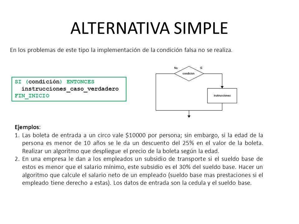 ALTERNATIVA SIMPLE SI (condición) ENTONCES instrucciones_caso_verdadero FIN_INICIO En los problemas de este tipo la implementación de la condición fal