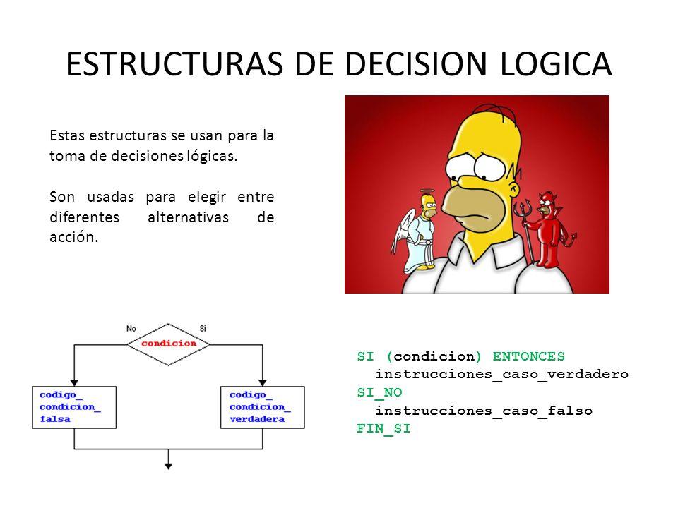 ESTRUCTURAS DE DECISION LOGICA Estas estructuras se usan para la toma de decisiones lógicas. Son usadas para elegir entre diferentes alternativas de a