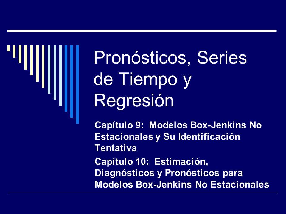 Pronósticos, Series de Tiempo y Regresión Capítulo 9: Modelos Box-Jenkins No Estacionales y Su Identificación Tentativa Capítulo 10: Estimación, Diagn