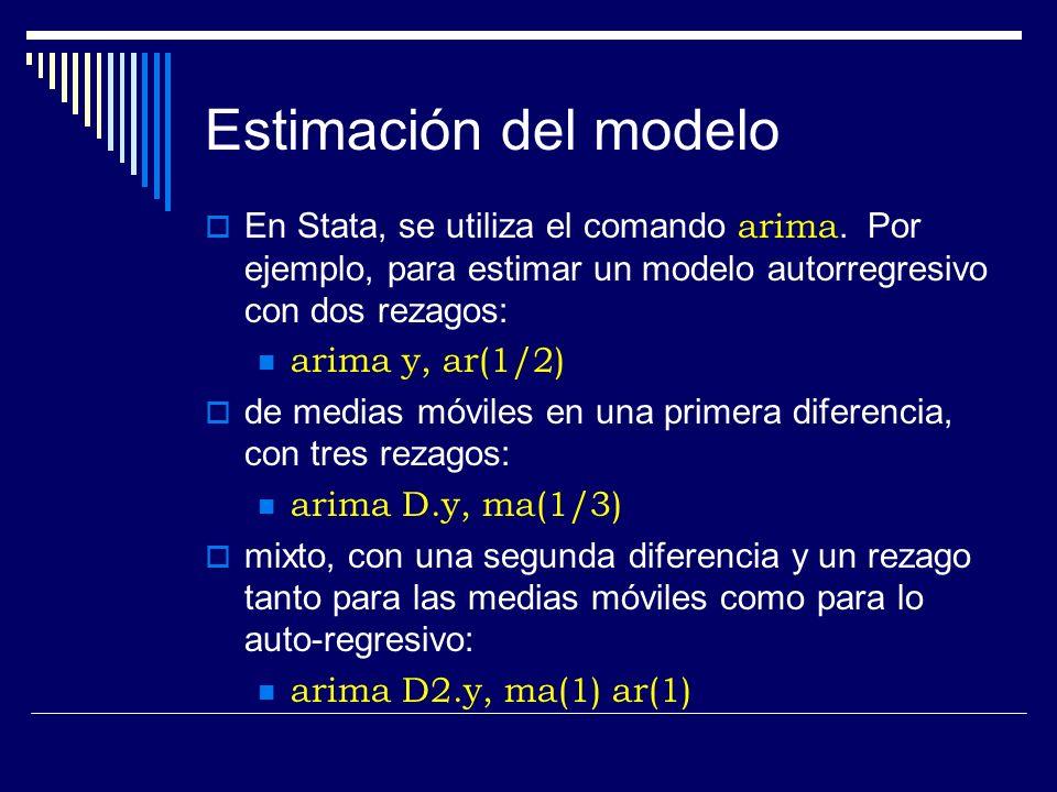 Estimación del modelo En Stata, se utiliza el comando arima. Por ejemplo, para estimar un modelo autorregresivo con dos rezagos: arima y, ar(1/2) de m