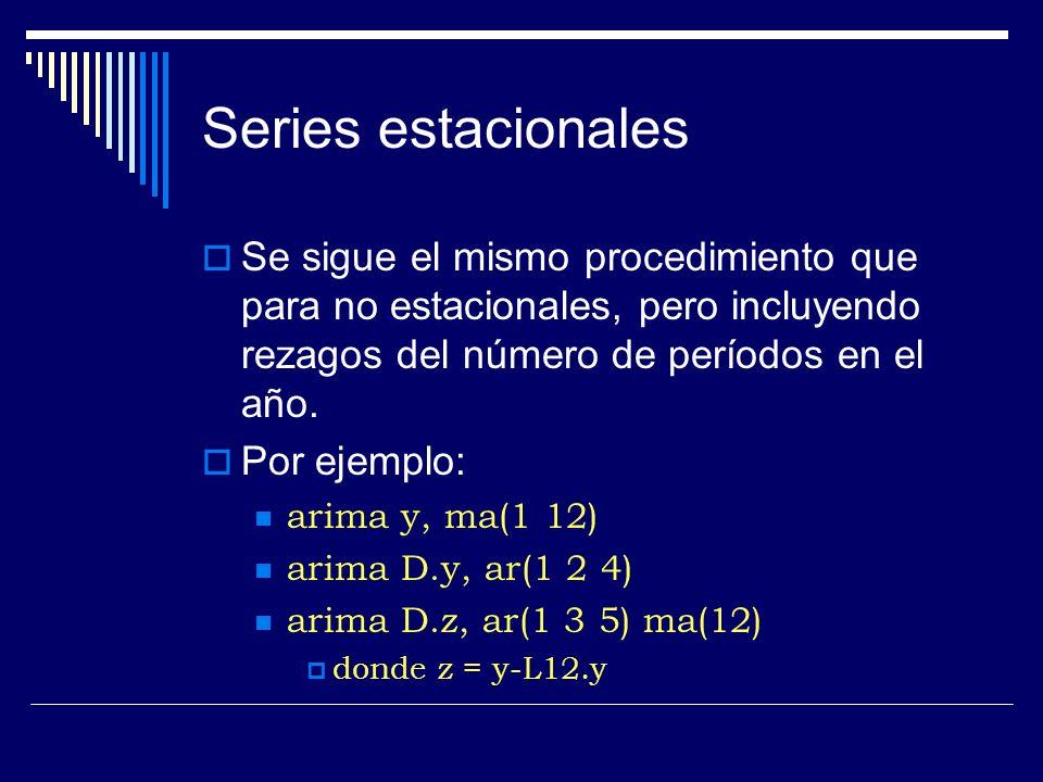 Series estacionales Se sigue el mismo procedimiento que para no estacionales, pero incluyendo rezagos del número de períodos en el año. Por ejemplo: a