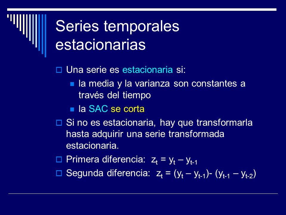 Series temporales estacionarias Una serie es estacionaria si: la media y la varianza son constantes a través del tiempo la SAC se corta Si no es estac