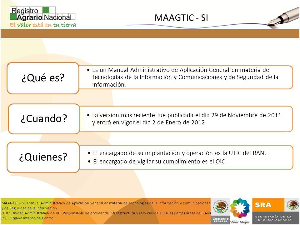 MAAGTIC - SI Es un Manual Administrativo de Aplicación General en materia de Tecnologías de la Información y Comunicaciones y de Seguridad de la Infor