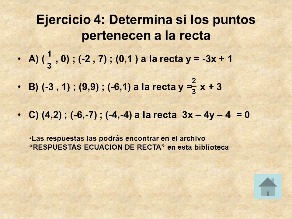 Ejercicio 4: Determina si los puntos pertenecen a la recta A) (, 0) ; (-2, 7) ; (0,1 ) a la recta y = -3x + 1 B) (-3, 1) ; (9,9) ; (-6,1) a la recta y