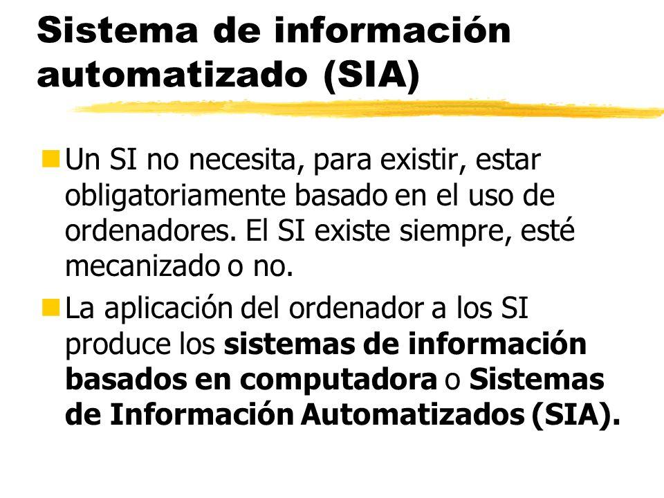 Sistema de información automatizado (SIA) nUn SI no necesita, para existir, estar obligatoriamente basado en el uso de ordenadores. El SI existe siemp