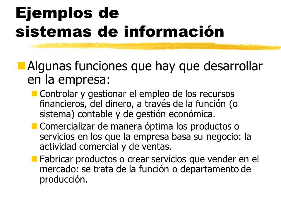 Ejemplos de sistemas de información nAlgunas funciones que hay que desarrollar en la empresa: nControlar y gestionar el empleo de los recursos financi