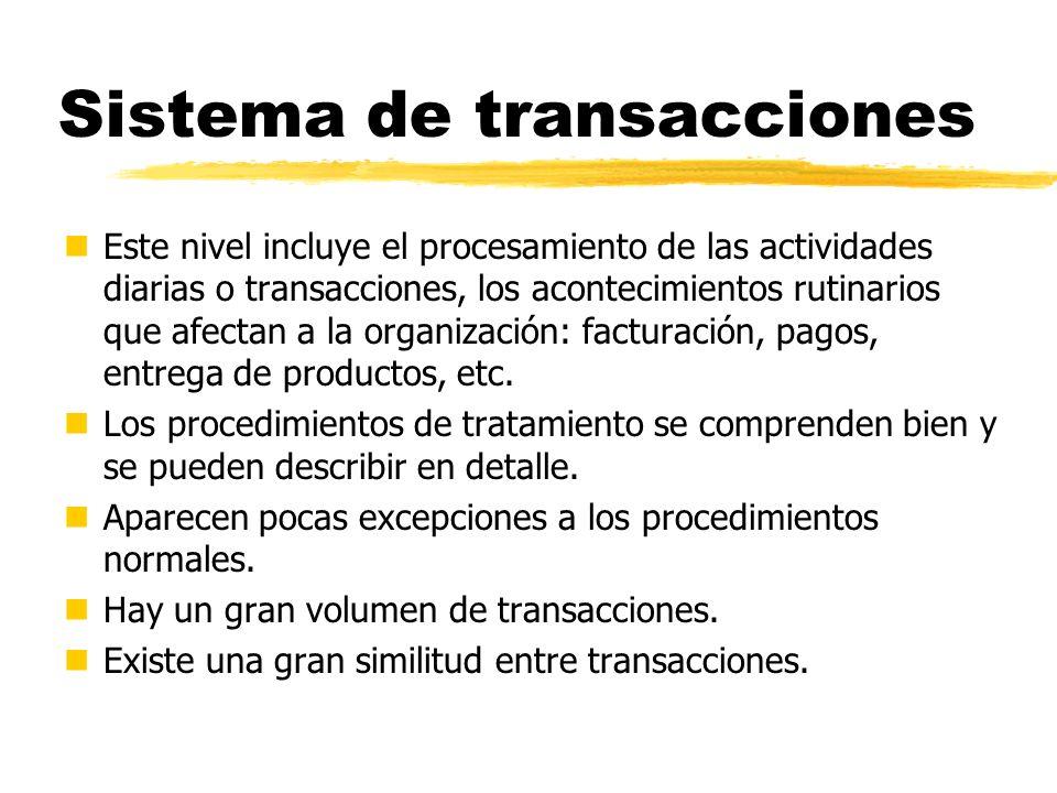 Sistema de transacciones nEste nivel incluye el procesamiento de las actividades diarias o transacciones, los acontecimientos rutinarios que afectan a