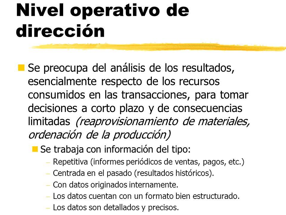 Nivel operativo de dirección nSe preocupa del análisis de los resultados, esencialmente respecto de los recursos consumidos en las transacciones, para