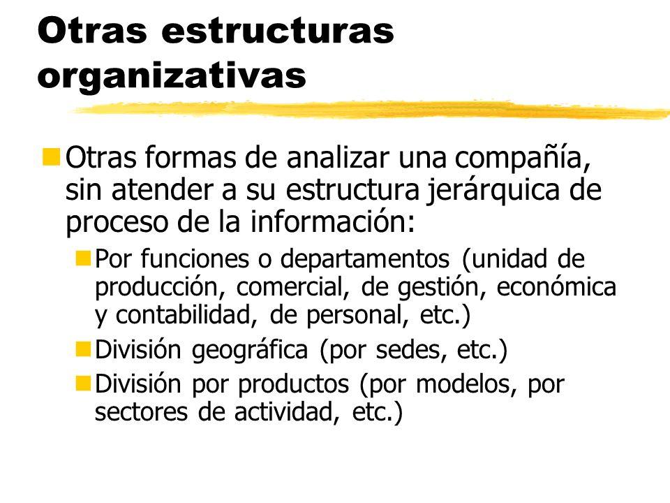 Otras estructuras organizativas nOtras formas de analizar una compañía, sin atender a su estructura jerárquica de proceso de la información: nPor func