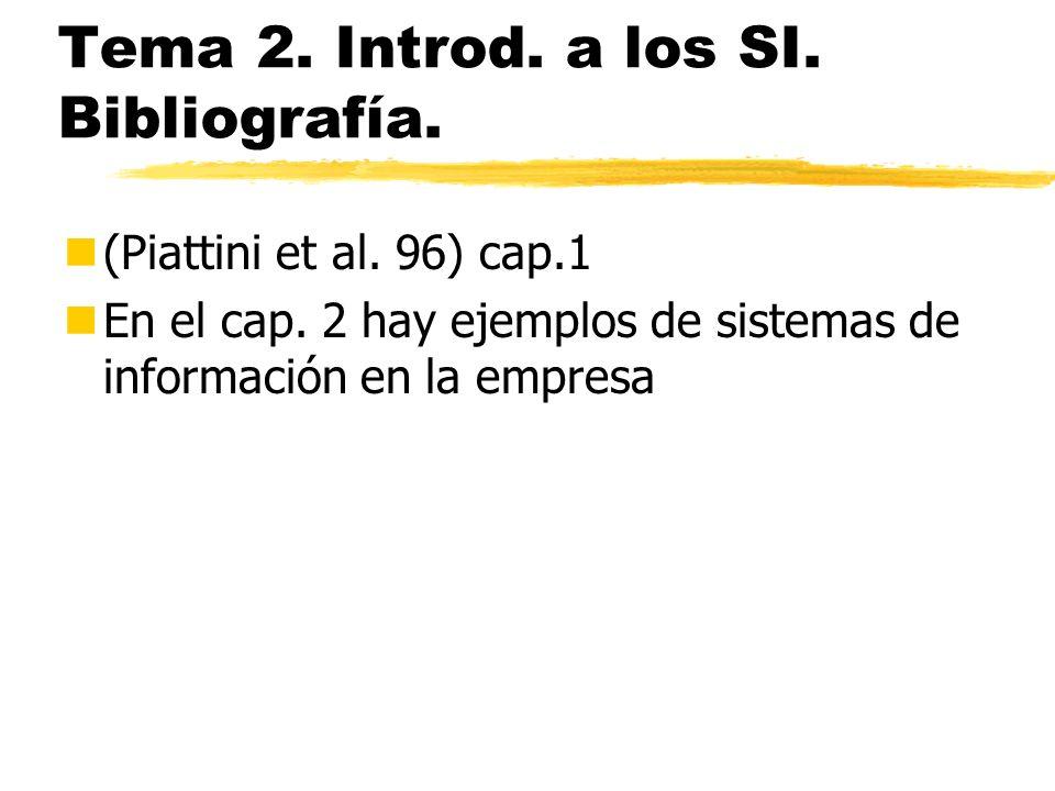 Tema 2. Introd. a los SI. Bibliografía. n(Piattini et al. 96) cap.1 nEn el cap. 2 hay ejemplos de sistemas de información en la empresa