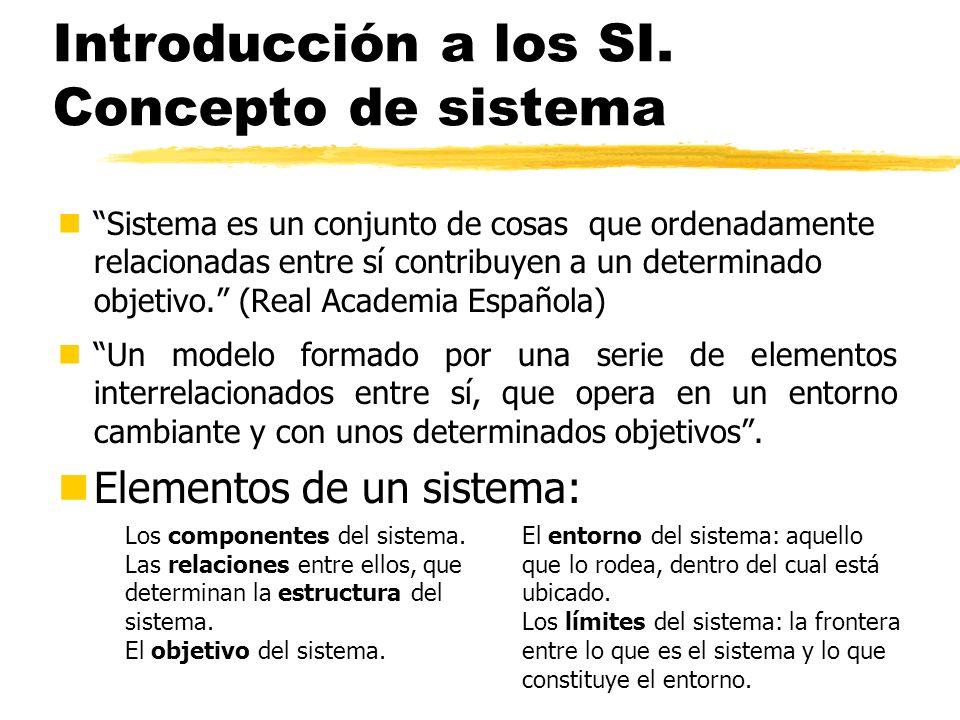 Introducción a los SI. Concepto de sistema nSistema es un conjunto de cosas que ordenadamente relacionadas entre sí contribuyen a un determinado objet