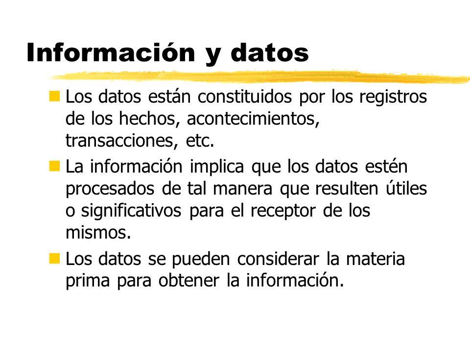 Información y datos nLos datos están constituidos por los registros de los hechos, acontecimientos, transacciones, etc. nLa información implica que lo