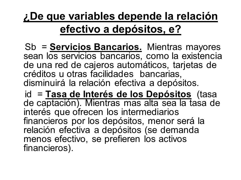 ¿De que variables depende la relación efectivo a depósitos, e? Sb = Servicios Bancarios. Mientras mayores sean los servicios bancarios, como la existe