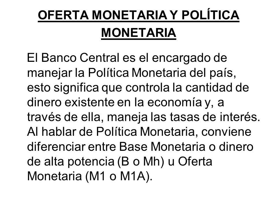 OFERTA MONETARIA Y POLÍTICA MONETARIA El Banco Central es el encargado de manejar la Política Monetaria del país, esto significa que controla la canti