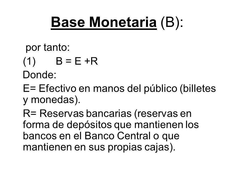 Base Monetaria (B): por tanto: (1) B = E +R Donde: E= Efectivo en manos del público (billetes y monedas). R= Reservas bancarias (reservas en forma de