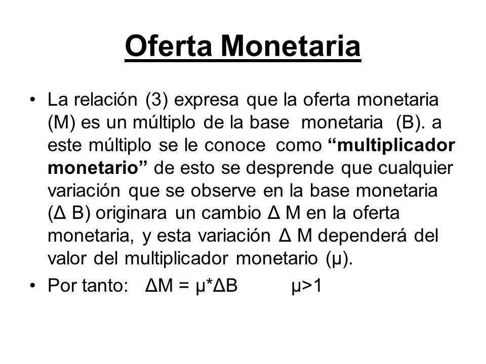 Oferta Monetaria La relación (3) expresa que la oferta monetaria (M) es un múltiplo de la base monetaria (B). a este múltiplo se le conoce como multip