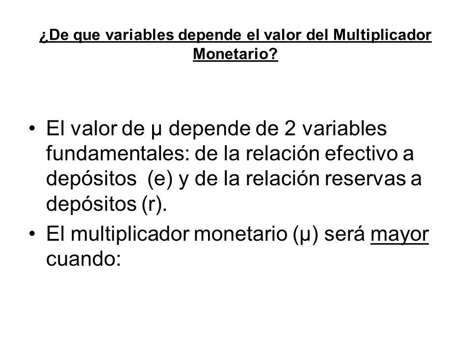 ¿De que variables depende el valor del Multiplicador Monetario? El valor de µ depende de 2 variables fundamentales: de la relación efectivo a depósito