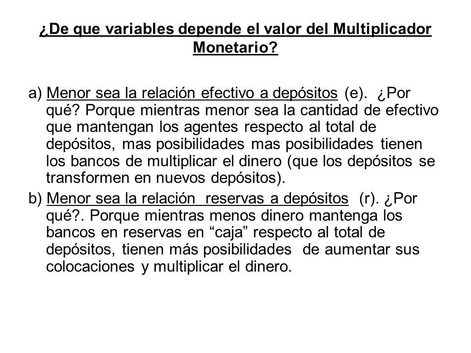 ¿De que variables depende el valor del Multiplicador Monetario? a) Menor sea la relación efectivo a depósitos (e). ¿Por qué? Porque mientras menor sea