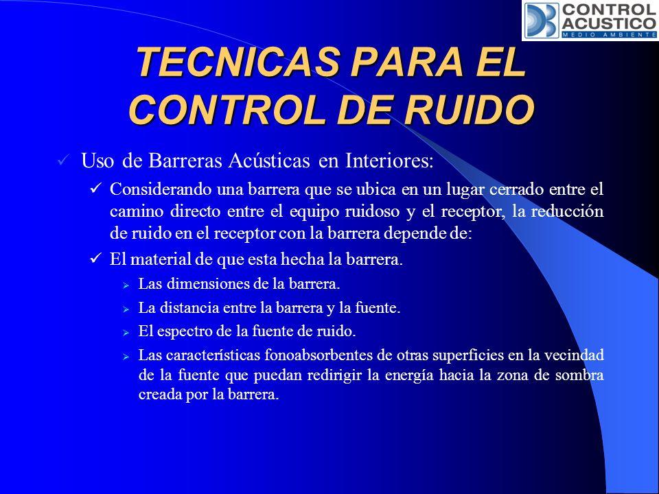 TECNICAS PARA EL CONTROL DE RUIDO Uso de Barreras Acústicas en Interiores: Considerando una barrera que se ubica en un lugar cerrado entre el camino d