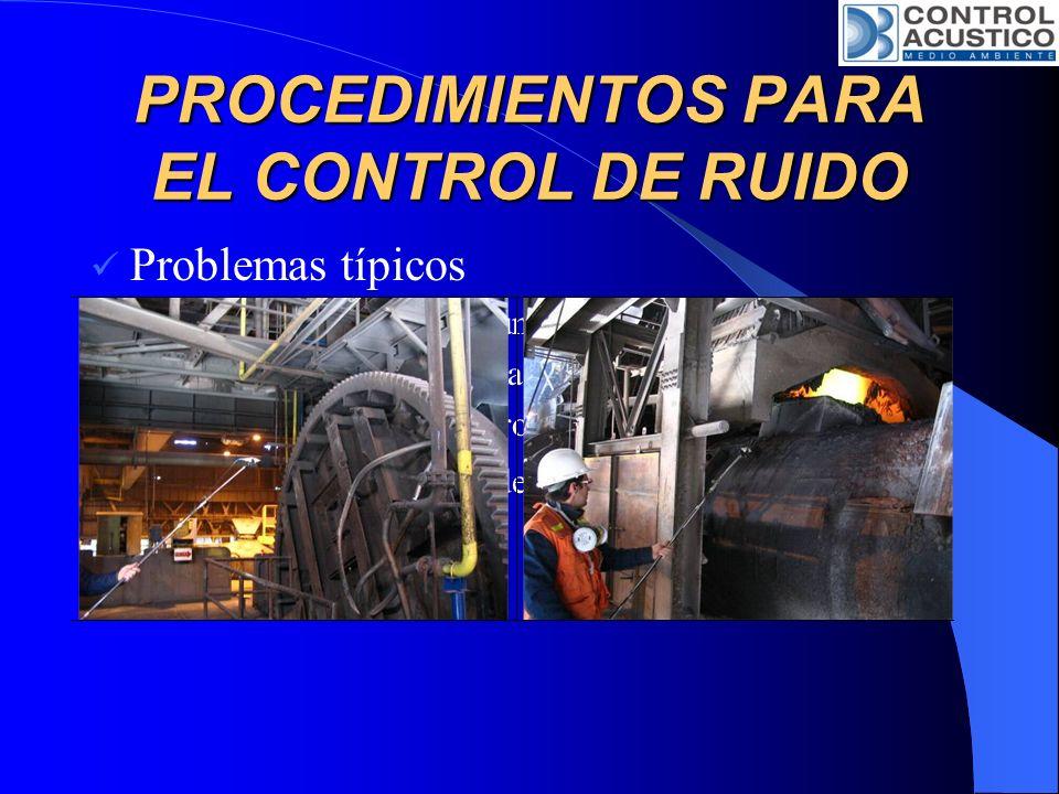 PROCEDIMIENTOS PARA EL CONTROL DE RUIDO Problemas típicos Fuente ya instalada y funcionando. Condiciones de funcionamiento. Poco espacio para controla