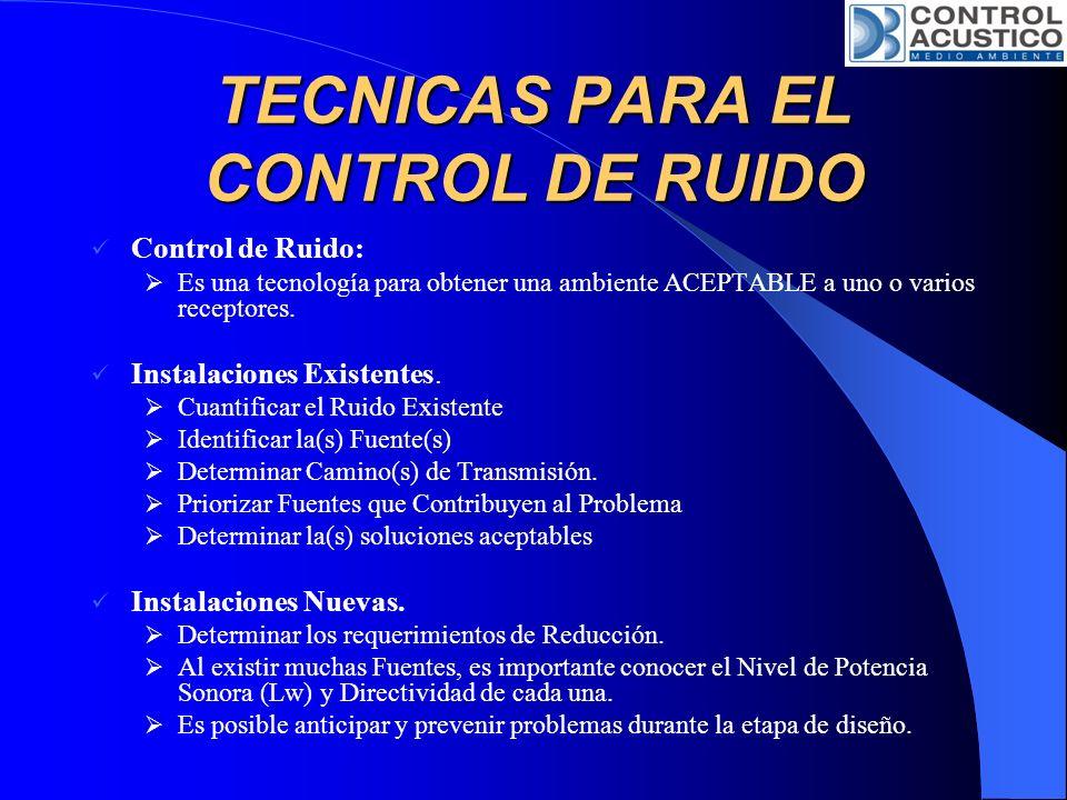 TECNICAS PARA EL CONTROL DE RUIDO Control de Ruido Transmitido por la Estructura: En la Fuente: Colocar la Fuente de vibración de manera que esté alejada del área en que se necesitan niveles bajos de ruido.