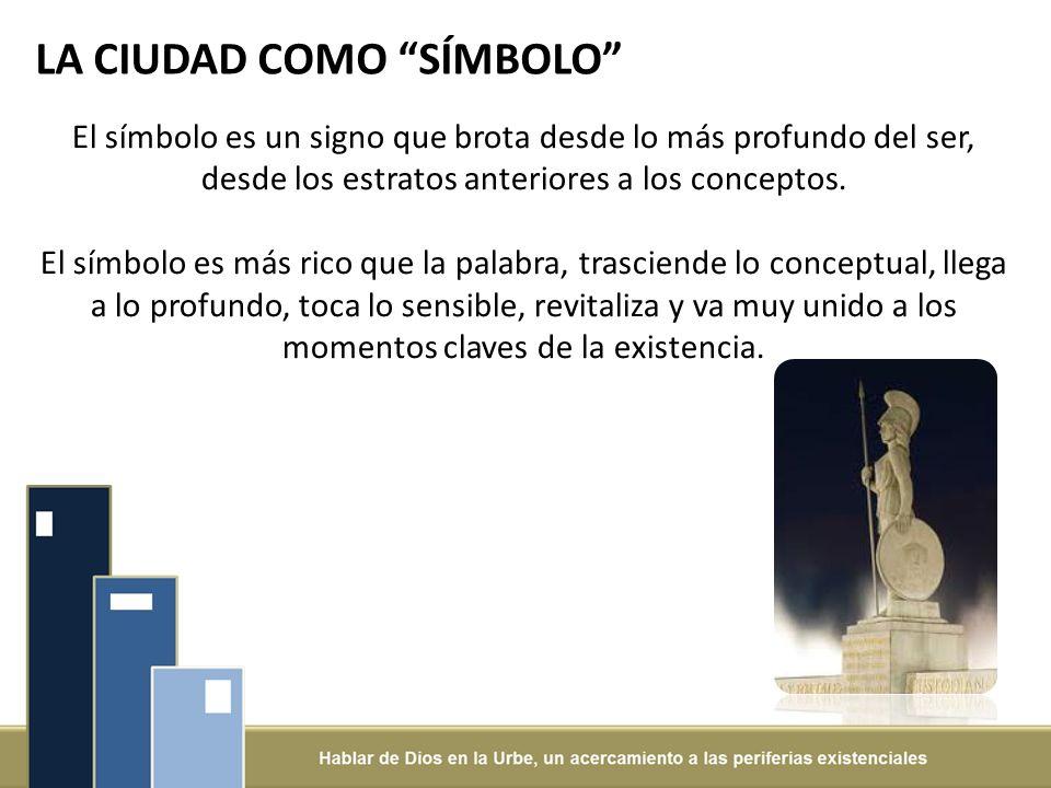 LA CIUDAD COMO SÍMBOLO El símbolo es un signo que brota desde lo más profundo del ser, desde los estratos anteriores a los conceptos.