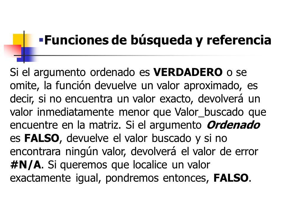 Funciones de búsqueda y referencia Argumentos de la función BUSCARV