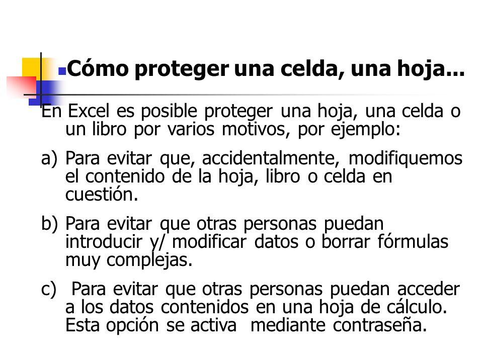 -Para limitar el acceso a una hoja de cálculo se utilizan los siguientes comandos: MENU/HERRAMIENTAS/PROTEGER/PROTEGER HOJA Aquí tenemos dos opciones: 1.NO poner contraseña y darle a ACEPTAR.