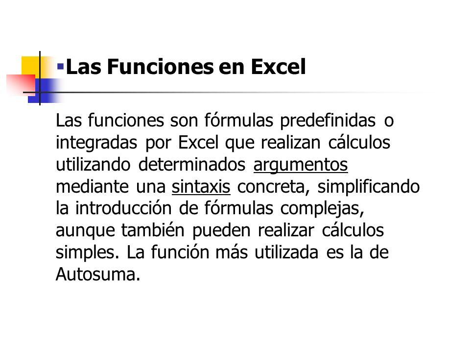 Las Funciones en Excel Podremos introducir funciones desde la barra de herramientas estándar (botón fx), o bien, desde el comando INSERTAR/FUNCION.