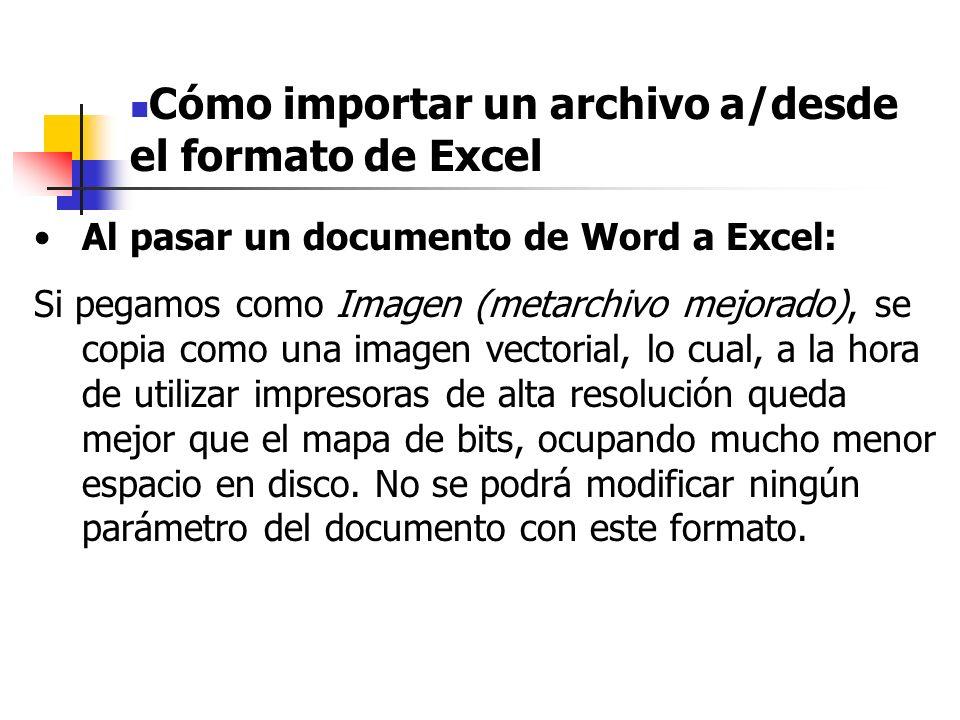 Al pasar un documento de Word a Excel: Si pegamos con Formato HTML se inserta el contenido del portapapeles con formato de hipertexto (igual que el que se utiliza para las páginas web) Finalmente, si pegamos como Texto Unicode o Texto, insertaremos como texto, sin conservar el aspecto de tabla, fuentes, etc.