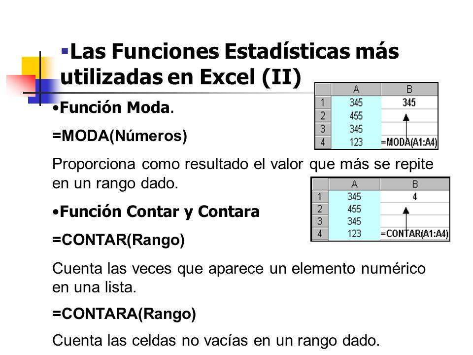 Las Funciones Estadísticas más utilizadas en Excel (III) Función Contar.si CONTAR.SI(Rango) Cuenta las celdas en el rango que coinciden con la condición dada.