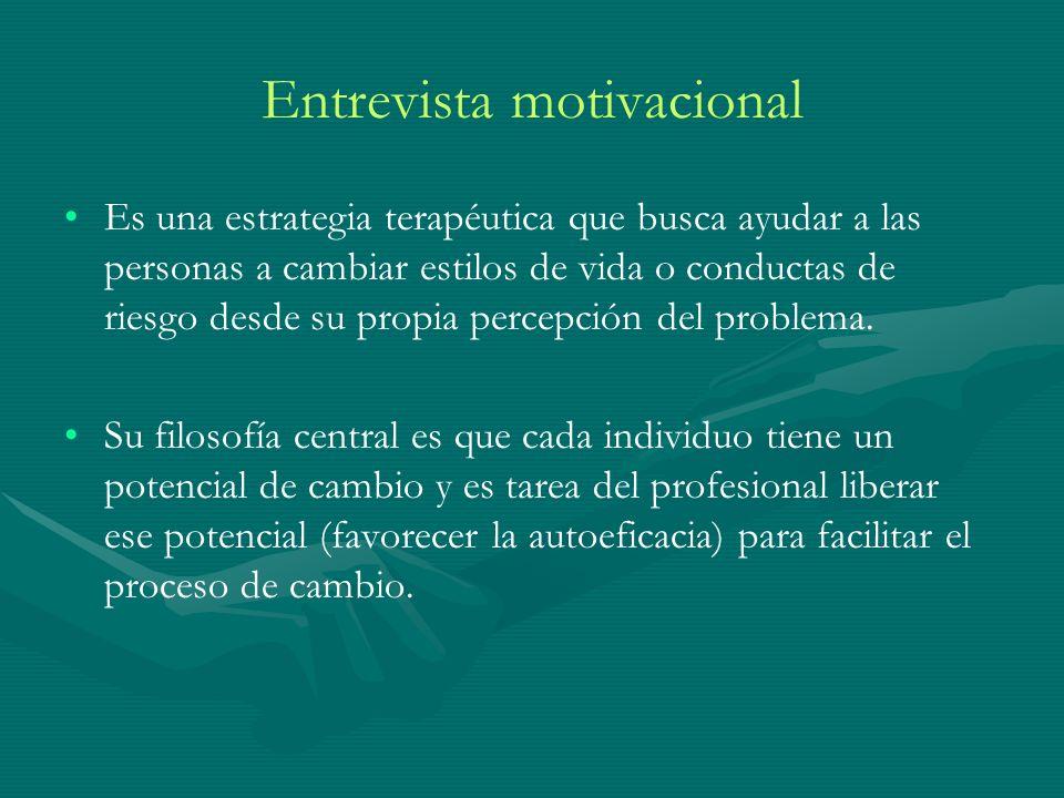Entrevista motivacional Es una estrategia terapéutica que busca ayudar a las personas a cambiar estilos de vida o conductas de riesgo desde su propia percepción del problema.