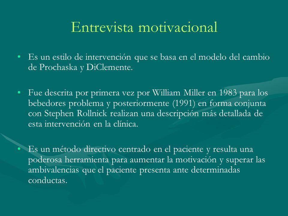 Entrevista motivacional Es un estilo de intervención que se basa en el modelo del cambio de Prochaska y DiClemente. Fue descrita por primera vez por W
