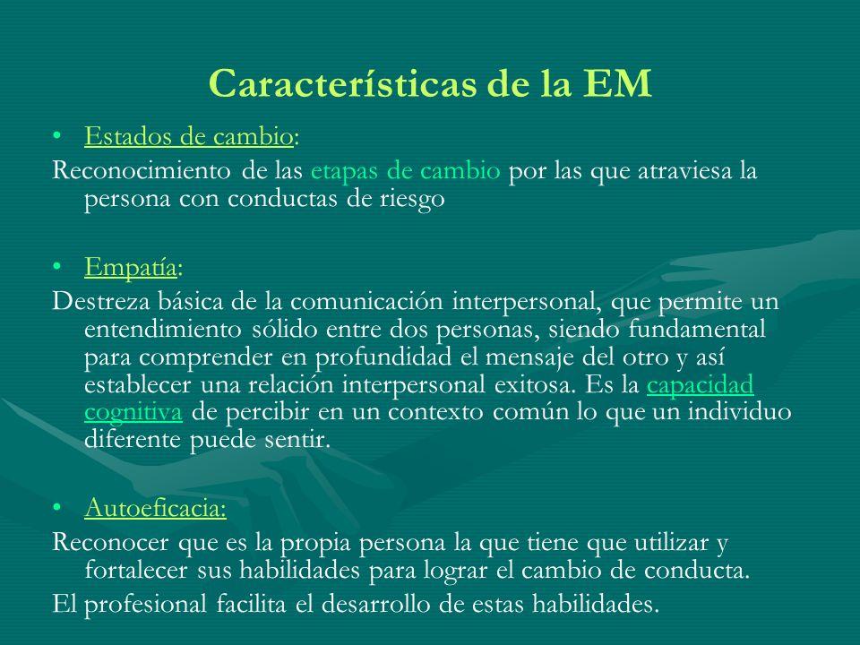 Características de la EM Estados de cambio: Reconocimiento de las etapas de cambio por las que atraviesa la persona con conductas de riesgo Empatía: D