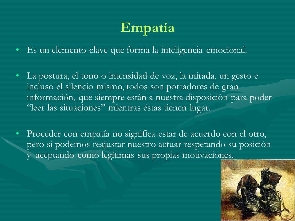Empatía Es un elemento clave que forma la inteligencia emocional. La postura, el tono o intensidad de voz, la mirada, un gesto e incluso el silencio m