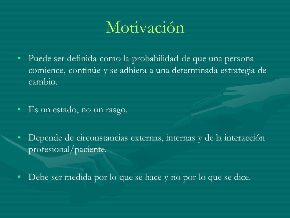 Motivación Puede ser definida como la probabilidad de que una persona comience, continúe y se adhiera a una determinada estrategia de cambio. Es un es