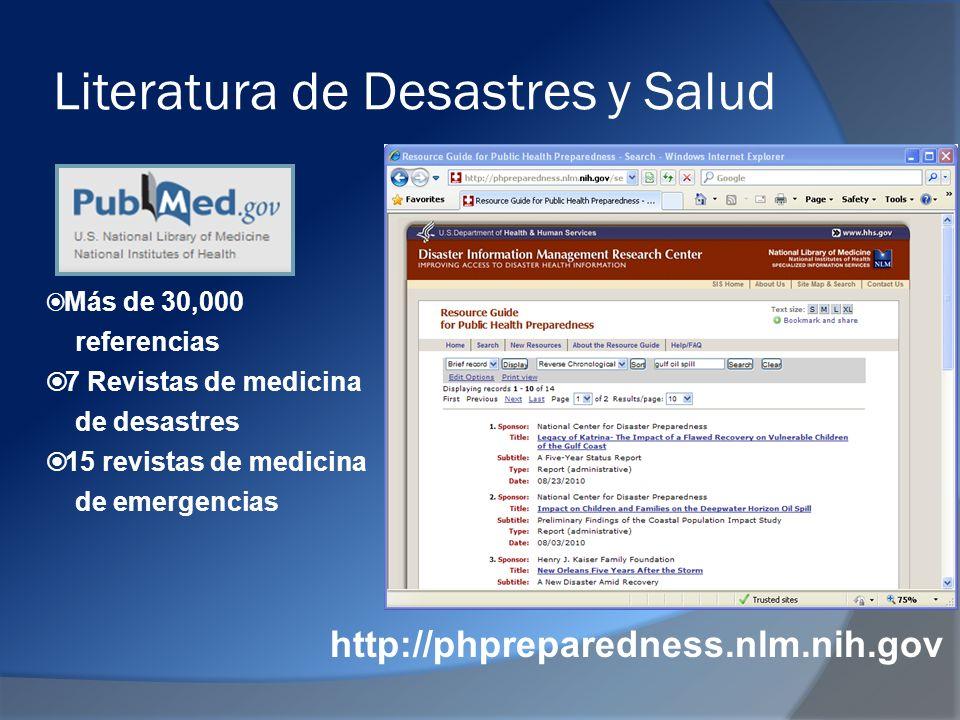 Literatura de Desastres y Salud http://phpreparedness.nlm.nih.gov Más de 30,000 referencias 7 Revistas de medicina de desastres 15 revistas de medicina de emergencias