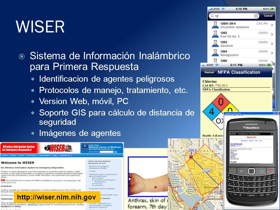 WISER Sistema de Información Inalámbrico para Primera Respuesta Identificacion de agentes peligrosos Protocolos de manejo, tratamiento, etc.