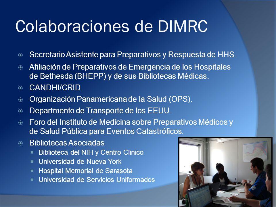 Colaboraciones de DIMRC Secretario Asistente para Preparativos y Respuesta de HHS.