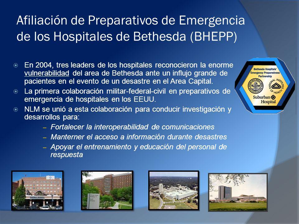 Afiliación de Preparativos de Emergencia de los Hospitales de Bethesda (BHEPP) En 2004, tres leaders de los hospitales reconocieron la enorme vulnerabilidad del area de Bethesda ante un influjo grande de pacientes en el evento de un desastre en el Area Capital.