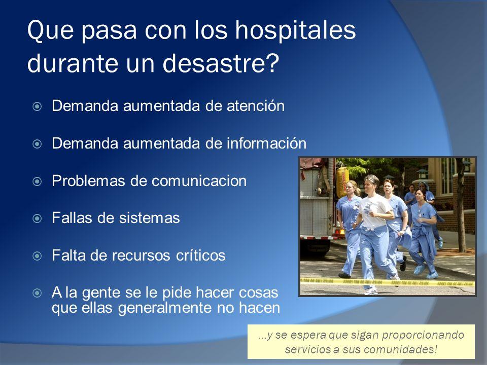 Que pasa con los hospitales durante un desastre.