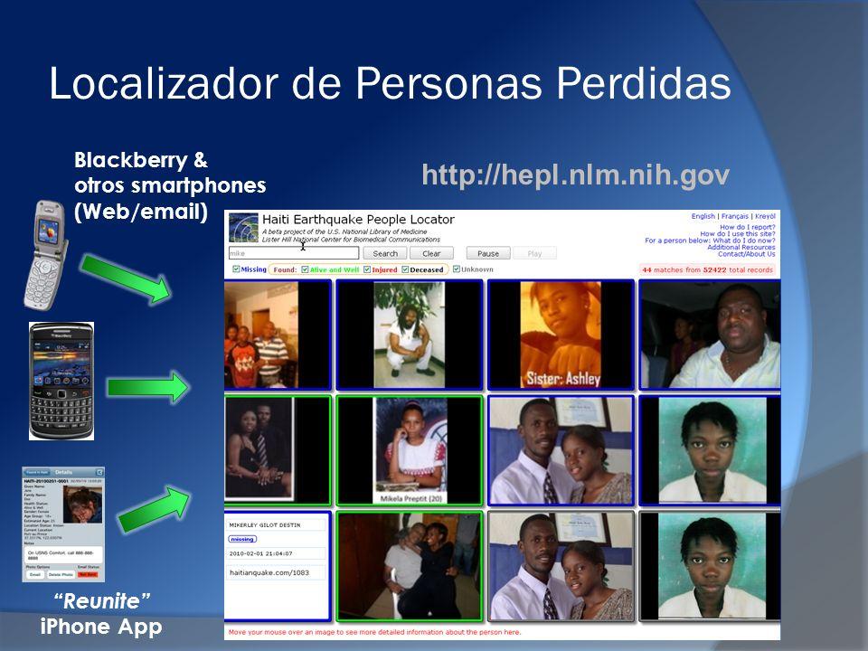 Localizador de Personas Perdidas Reunite iPhone App Blackberry & otros smartphones (Web/email) http://hepl.nlm.nih.gov