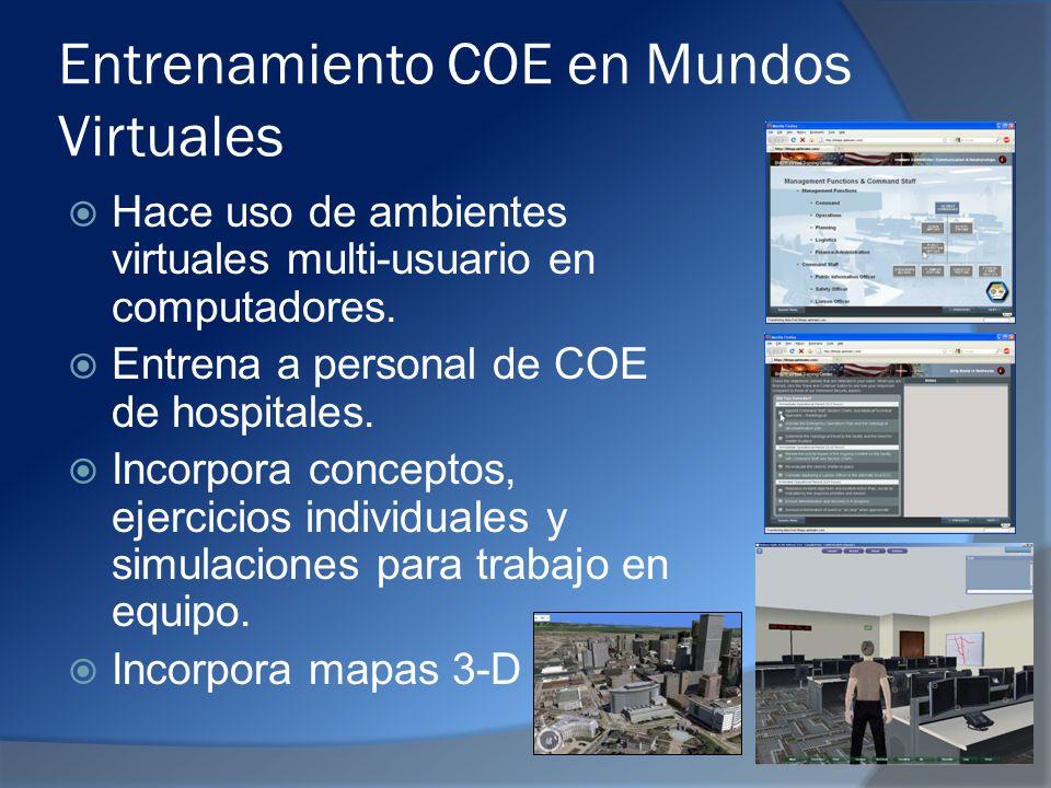 Entrenamiento COE en Mundos Virtuales Hace uso de ambientes virtuales multi-usuario en computadores.