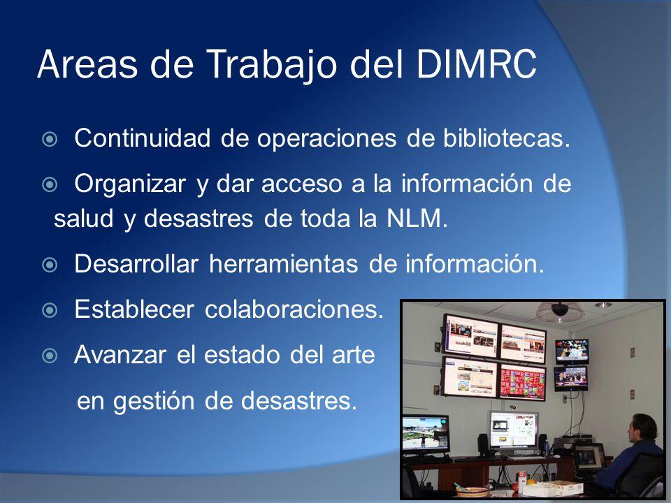 Areas de Trabajo del DIMRC Continuidad de operaciones de bibliotecas.