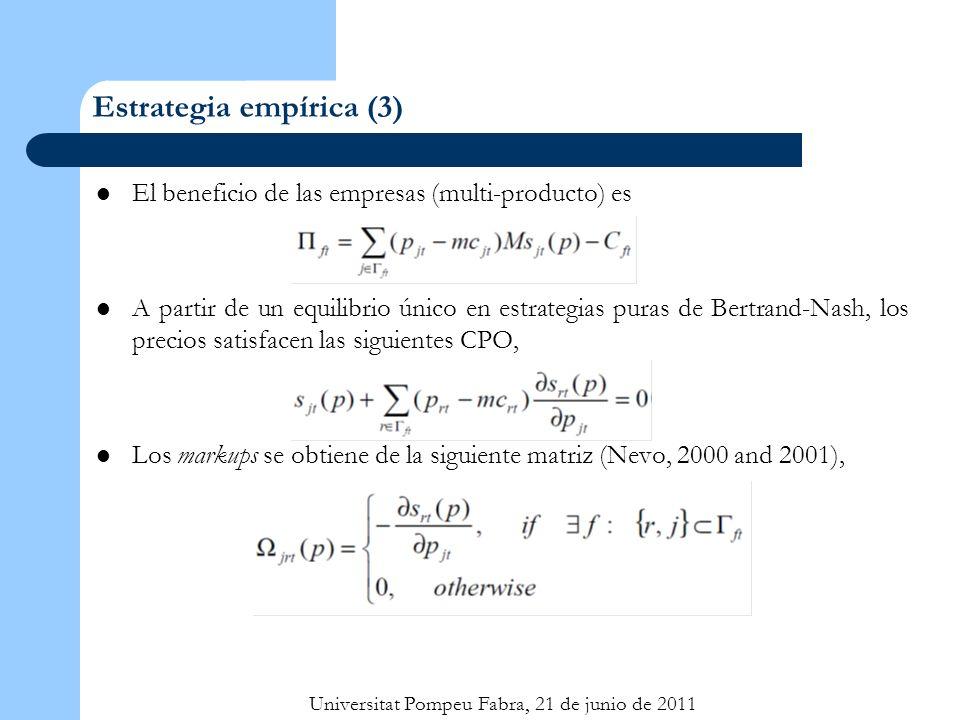 Universitat Pompeu Fabra, 21 de junio de 2011 Estrategia empírica (3) El beneficio de las empresas (multi-producto) es A partir de un equilibrio único